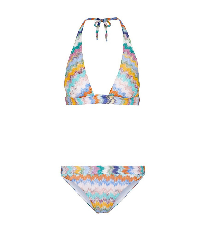 Missoni Mare Zig-zag knit halterneck bikini