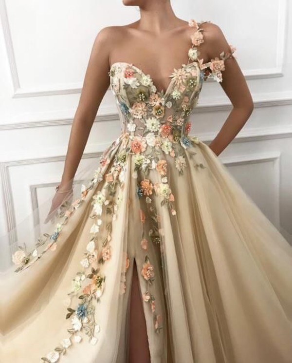 dress cream dress prom dress blossom gown embroidered dress flowers