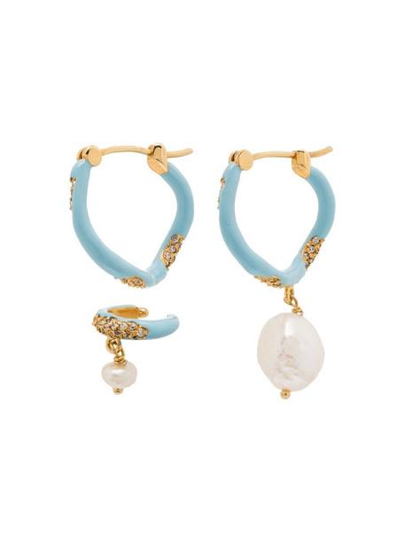 Joanna Laura Constantine Waves gold-plated pearl hoop earrings in blue