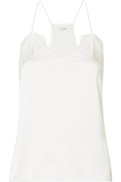 Cami NYC - The Racer Lace-trimmed Silk-charmeuse Camisole - White