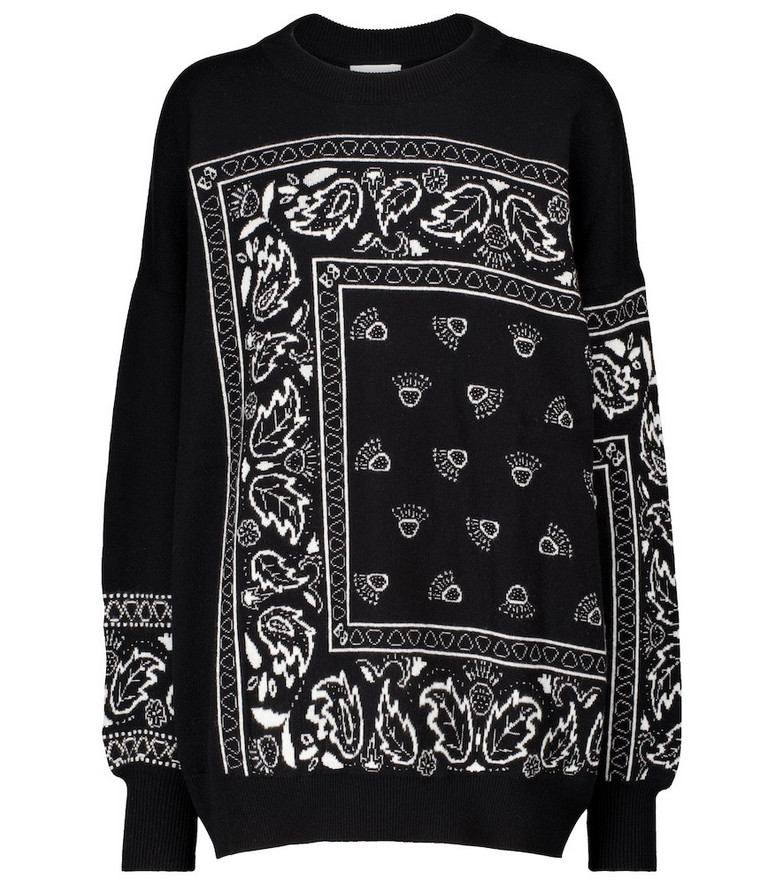 Barrie Exclusive to Mytheresa – Bandana-print cashmere-blend sweater in black