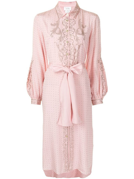 Camilla crystal-embellished tied-waist dress in pink