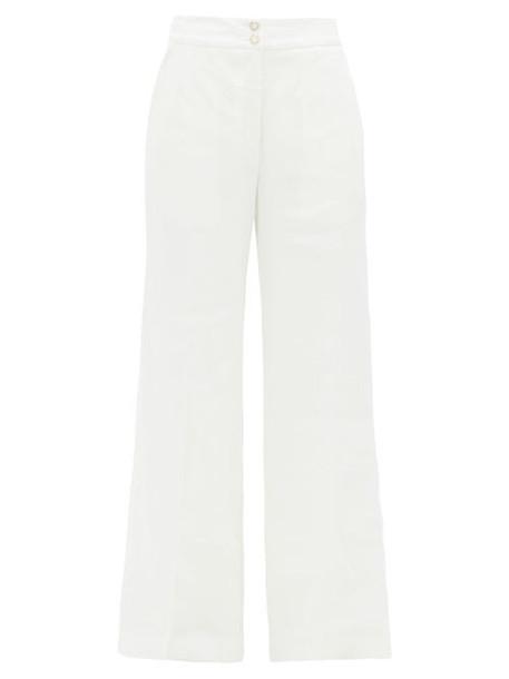 Temperley London - Sophia Linen-blend Wide-leg Trousers - Womens - White