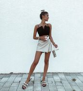 skirt,mini skirt,wrap skirt,slide shoes,mini bag,crop tops,black bag