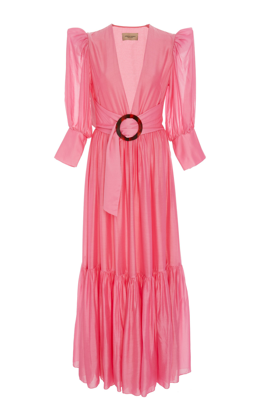 Adriana Degreas Puff-Sleeve Maxi Dress in pink