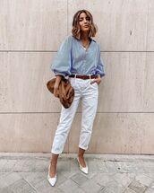 pants,white pants,high waisted pants,slingbacks,shirt,bag