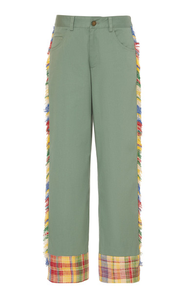 MONSE Fringed Mid-Rise Straight-Leg Pants Size: 0 in green