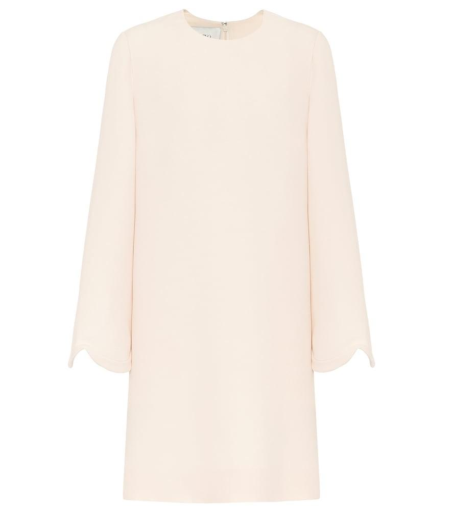 Valentino Wool-blend crêpe dress in neutrals
