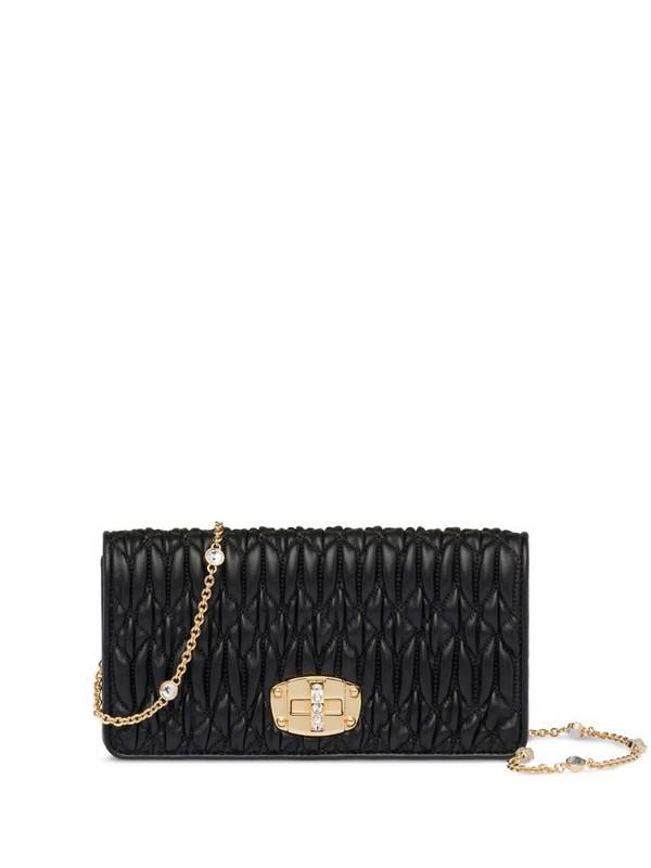Miu Miu crystal-embellished quilted mini bag in black