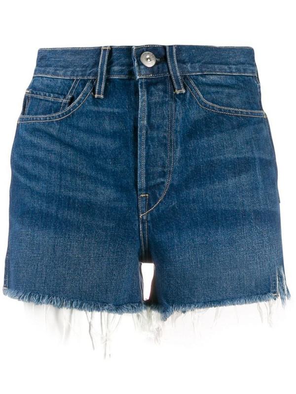 3x1 Kenzie denim high waisted shorts in blue