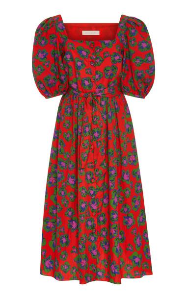 Borgo De Nor Corin Printed Cotton-Poplin Midi Dress