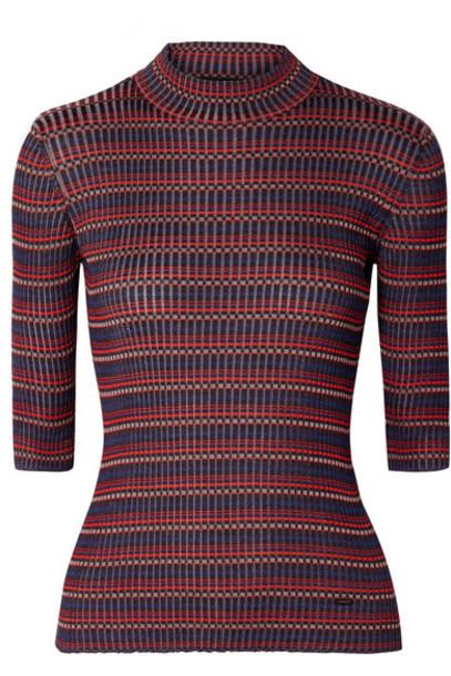 Akris - Striped Mulberry Silk Sweater - Red