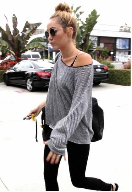 sunglasses grey miley cyrus glasses sweater t-shirt Celeb Gym Clothes miley cyrus gym clothes
