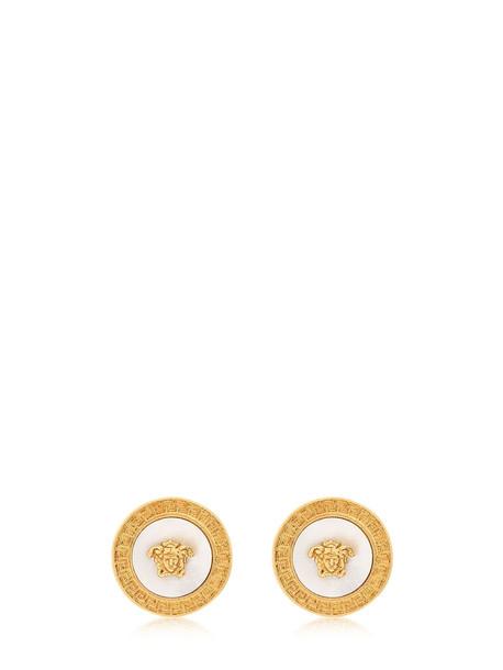 VERSACE Icon Medusa Stud Earrings W/pearl in gold
