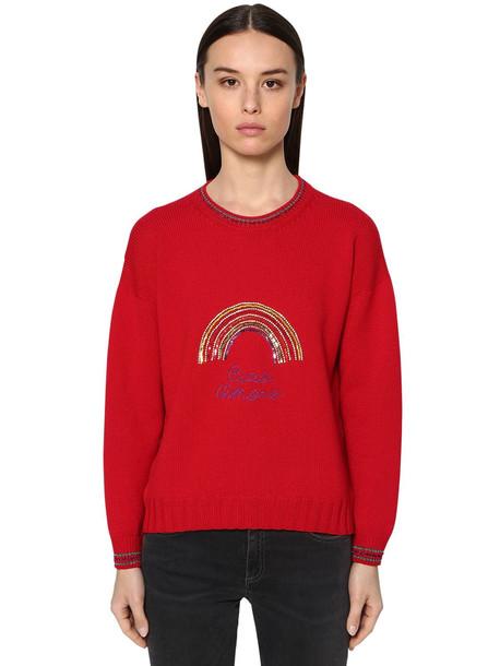 GIADA BENINCASA Merino Wool & Lurex Knit Sweater in red
