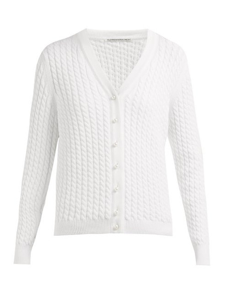 Alessandra Rich - Cable Knit Cotton Blend Cardigan - Womens - White