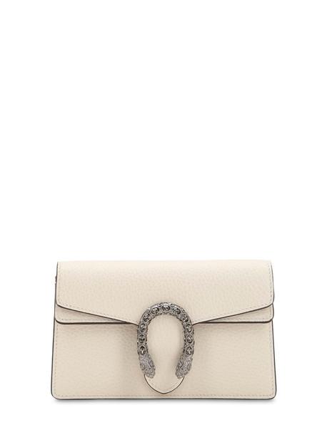 GUCCI Super Mini Dionysus Leather Shoulder Bag in white