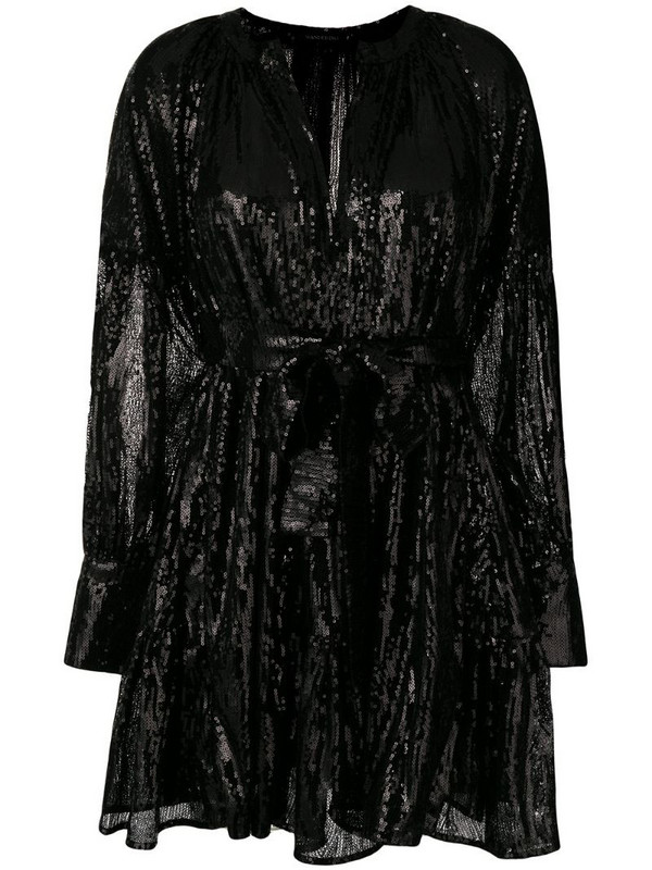 Wandering sequined mini dress in black