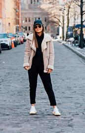 to be bright,blogger,bag,jumpsuit,sweater,jacket,coat,winter outfits,shearling jacket