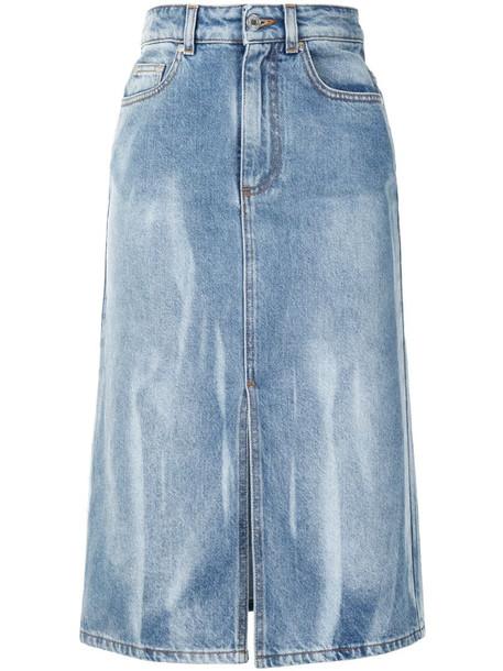 MSGM bleached effect denim skirt in blue
