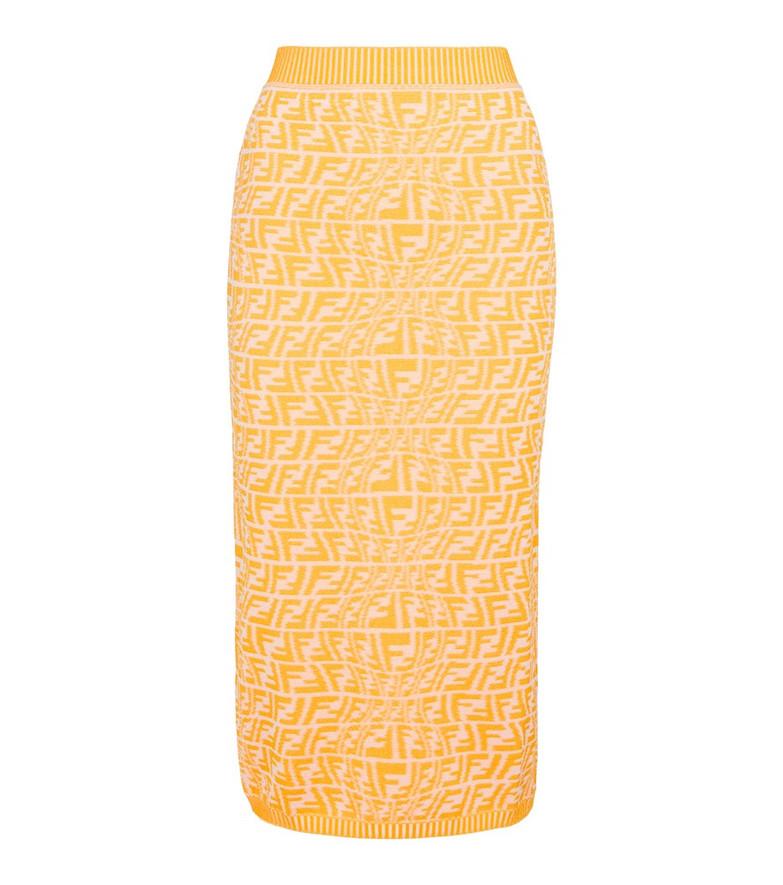Fendi FF Vertigo knit midi skirt in yellow