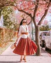 dress,midi dress,red dress,polka dots,white blazer,bucket bag,belt,sunglasses