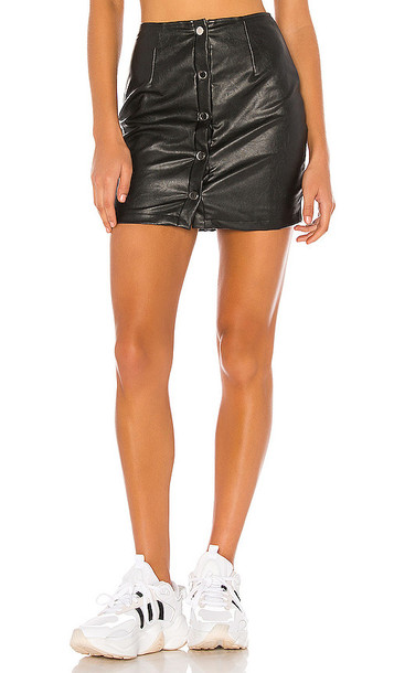 superdown Dolores Faux Leather Skirt in Black