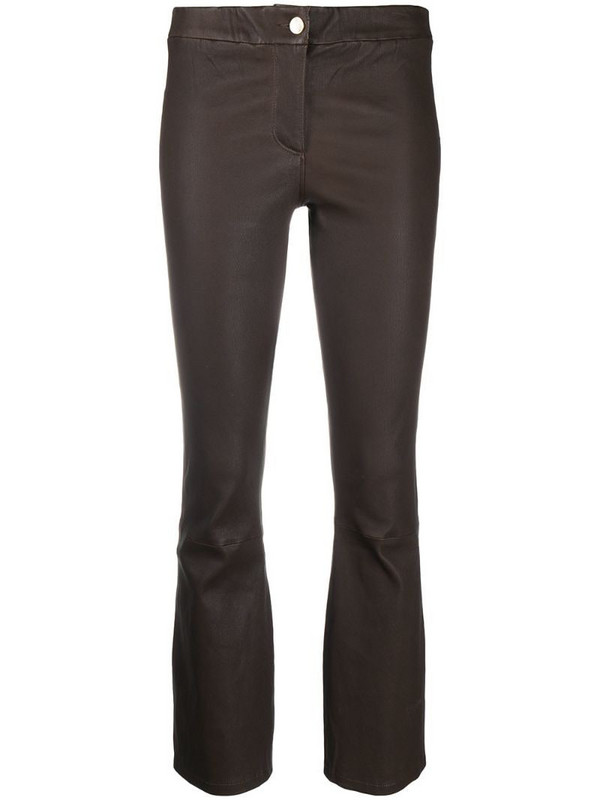 Arma mid-rise cropped trousers in brown