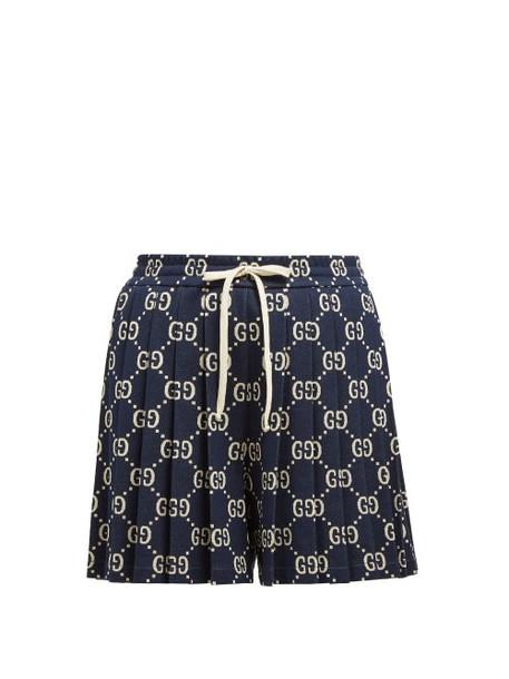 Gucci - Pleated Gg Cotton Jacquard Shorts - Womens - Navy Multi
