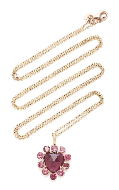 Christina Alexiou Red Tourmaline Heart Pendant Necklace in pink