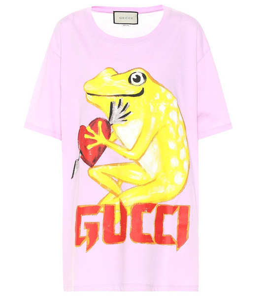 Gucci Printed cotton T-shirt in pink