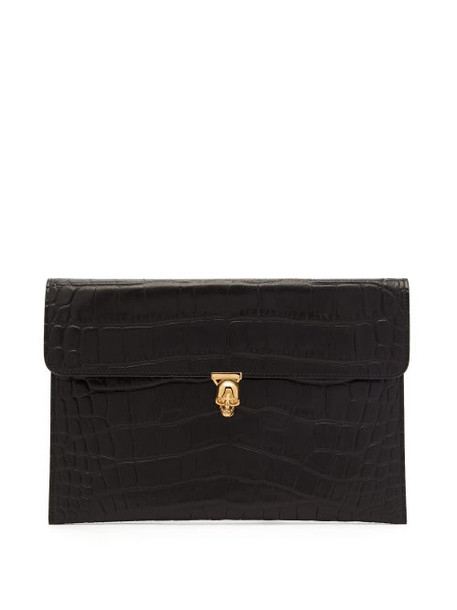 Alexander Mcqueen - Skull Crocodile Embossed Leather Envelope Pouch - Womens - Black