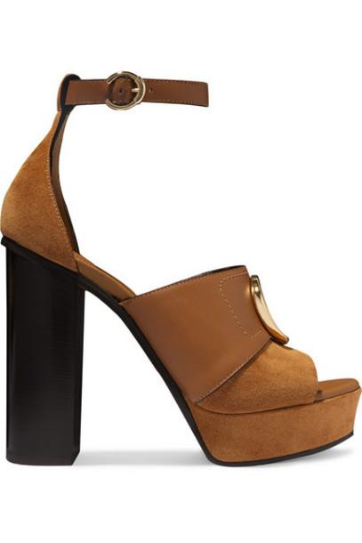 Chloé Chloé - Chloé C Logo-embellished Leather And Suede Platform Sandals - Tan