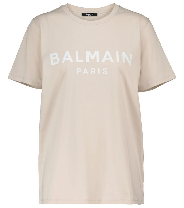 Balmain Logo cotton T-shirt in beige