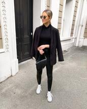 jacket,black blazer,white sneakers,black leggings,leather leggings,black bag,black turtleneck top