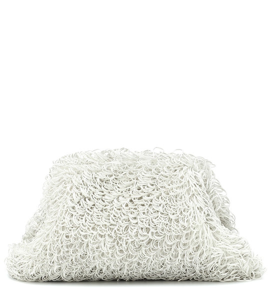 Bottega Veneta The Sponge Pouch Large leather clutch in white
