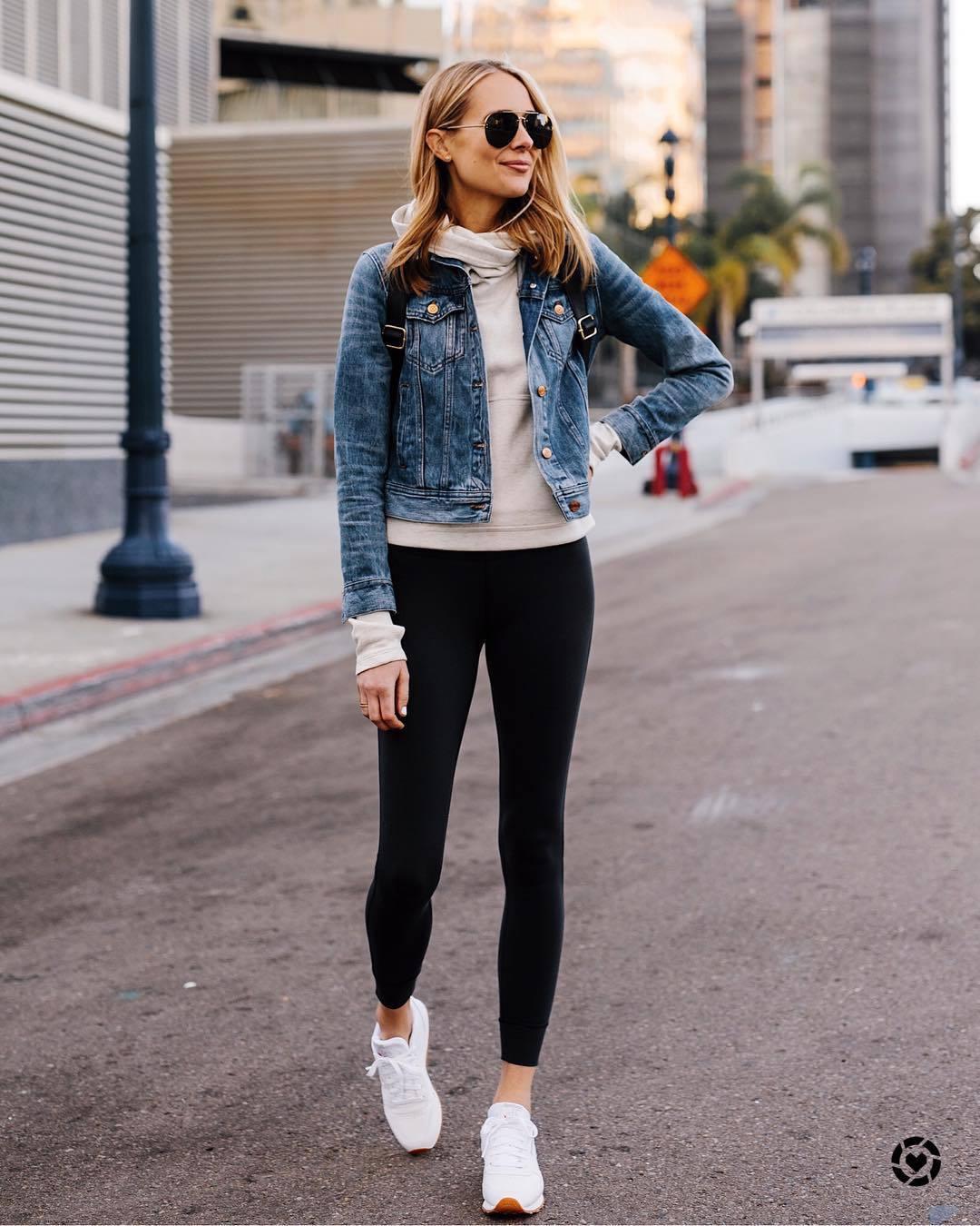 pants black leggings Reebok white sneakers white hoodie denim jacket sunglasses black backpack sportswear