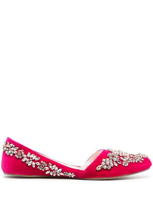 Giambattista Valli crystal-embellished ballerina shoes in pink