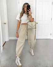 pants,high waisted pants,sneakers,white t-shirt,cropped t-shirt,ysl bag
