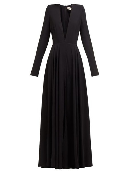 Alexandre Vauthier - Plunge Neck Slit Front Crepe Gown - Womens - Black