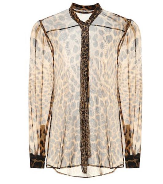 Saint Laurent Printed silk blouse in brown
