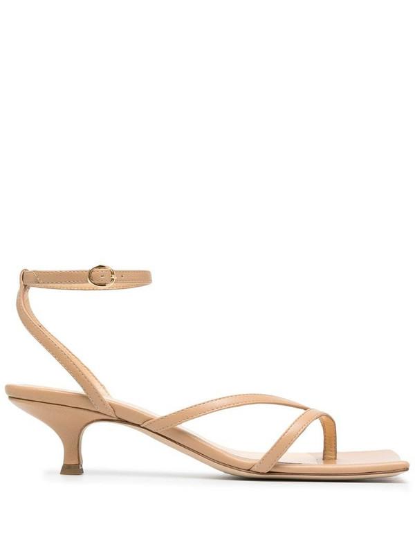 A.W.A.K.E. Mode square-toe heeled sandals in neutrals