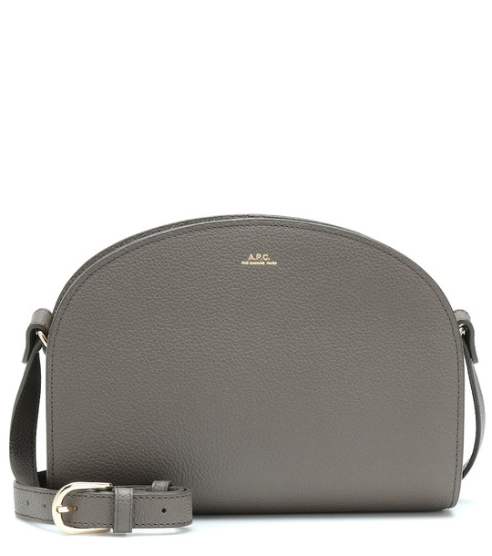 A.P.C. Demi-Lune leather shoulder bag in grey