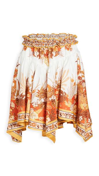 Zimmermann Brightside Angled Hem Skirt in gold
