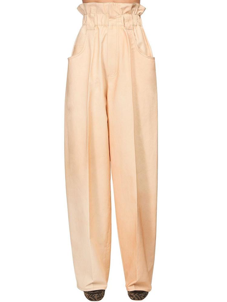 FENDI High Waist Cotton Gabardine Cargo Pants in ivory