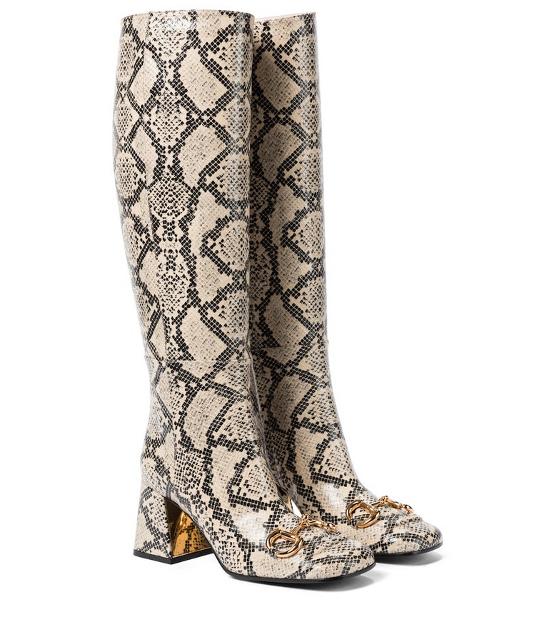 Gucci Horsebit leather knee-high boots in beige