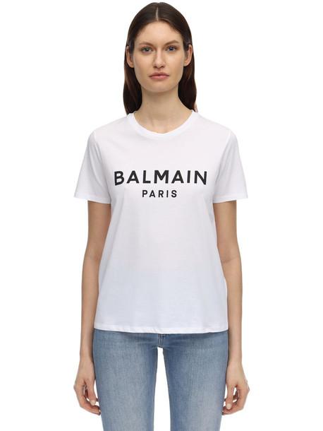 BALMAIN Logo Flocked Cotton Jersey T-shirt in black / white