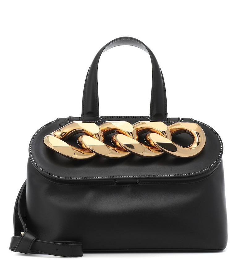 JW Anderson Chain Lid leather shoulder bag in black