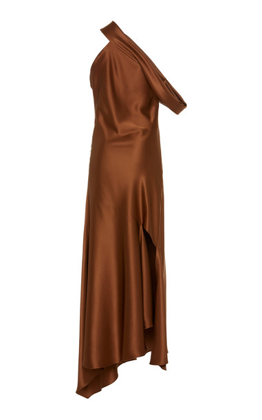 Cushnie One-Shoulder Asymmetric Silk-Satin Dress Size: 14 in brown