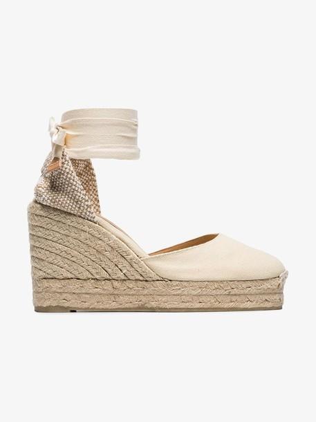 Castañer cream Carina 80 ankle tie wedge sandals